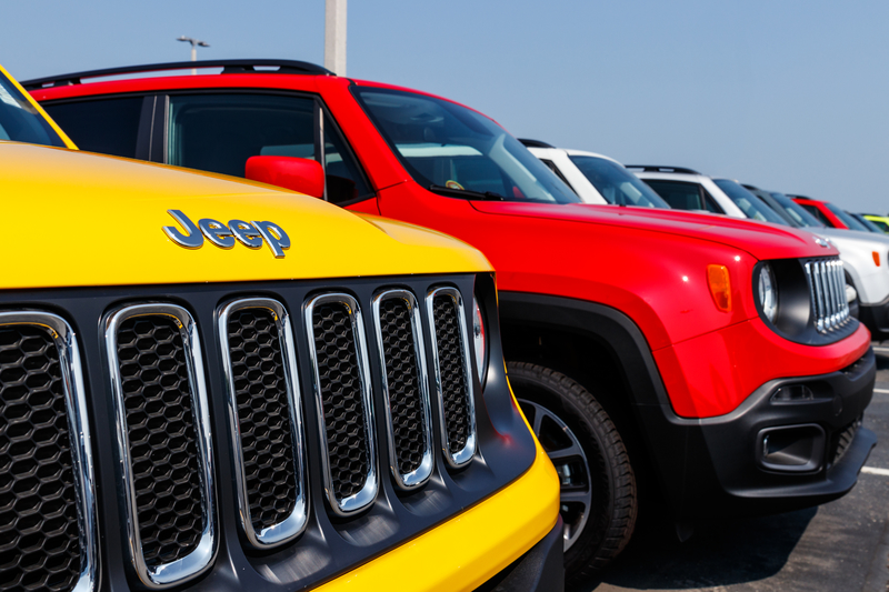 Jeep Renegade on display at a Chrysler Jeep dealership